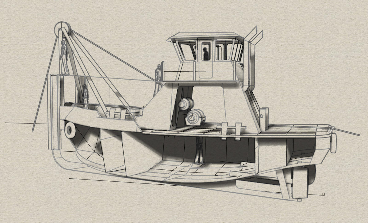 Vessel Design Build Engineering Fabrication Tugboat 45 x20 Workboat Curtin Maritime Bernardine C Drawing